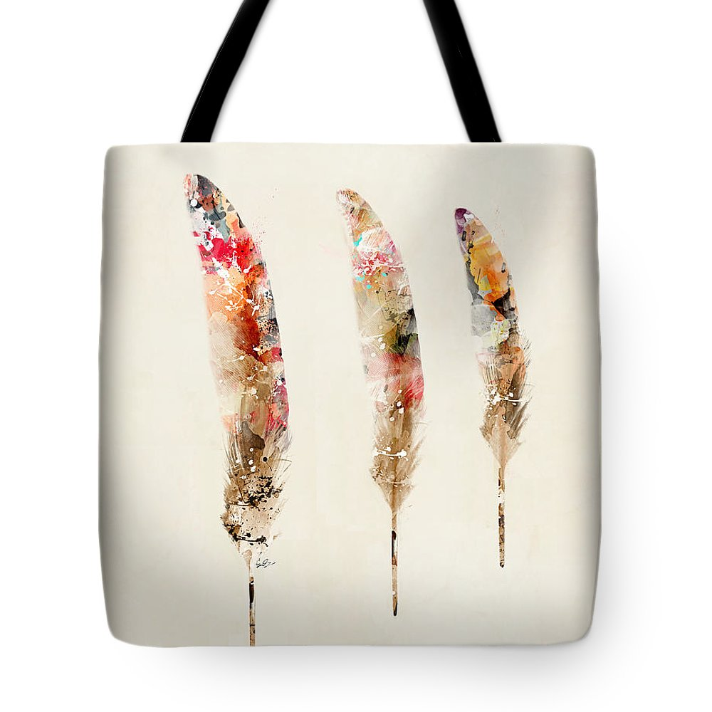 Feathers Tote Bag featuring the painting 3 Feathers by Bri Buckley