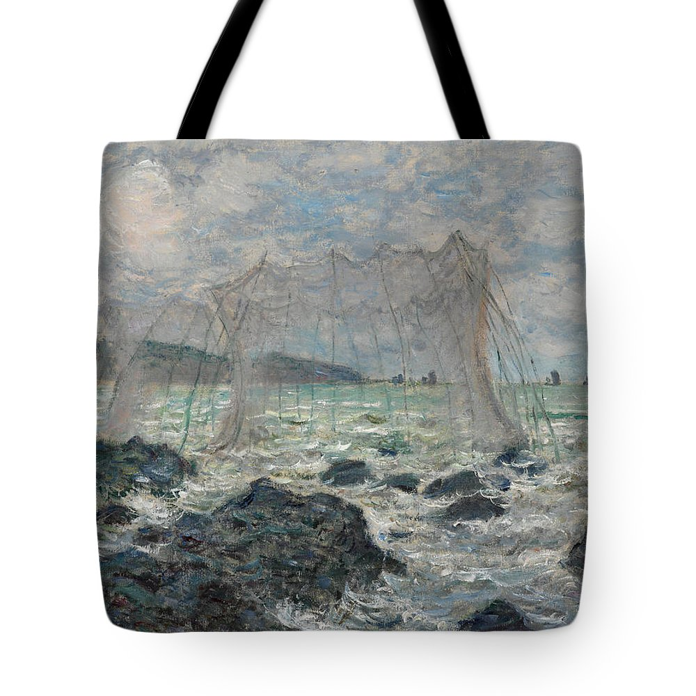 Claude Monet Tote Bag featuring the painting Fishing Nets At Pourville by Claude Monet