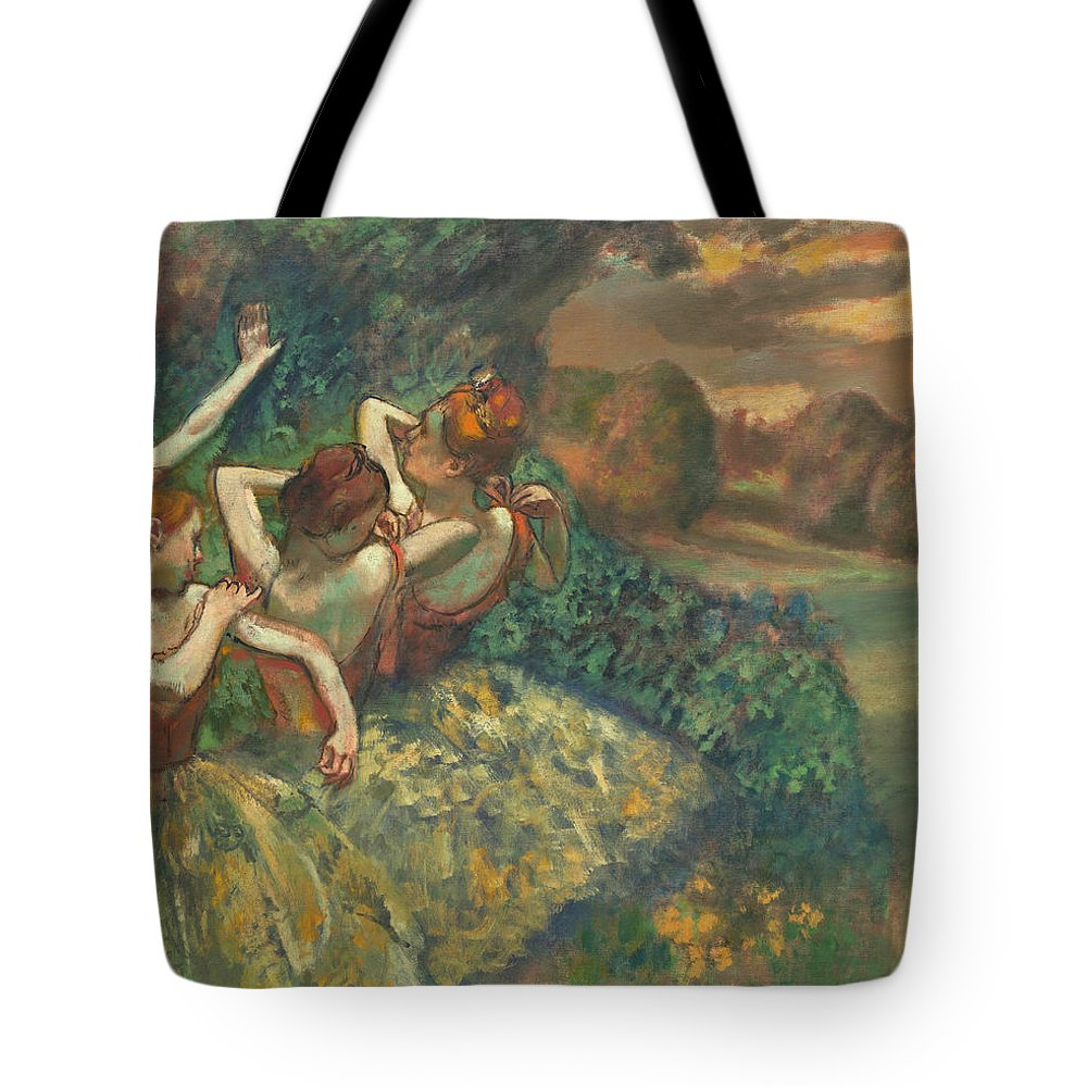 Four Dancers Tote Bag featuring the painting Four Dancers by Edgar Degas