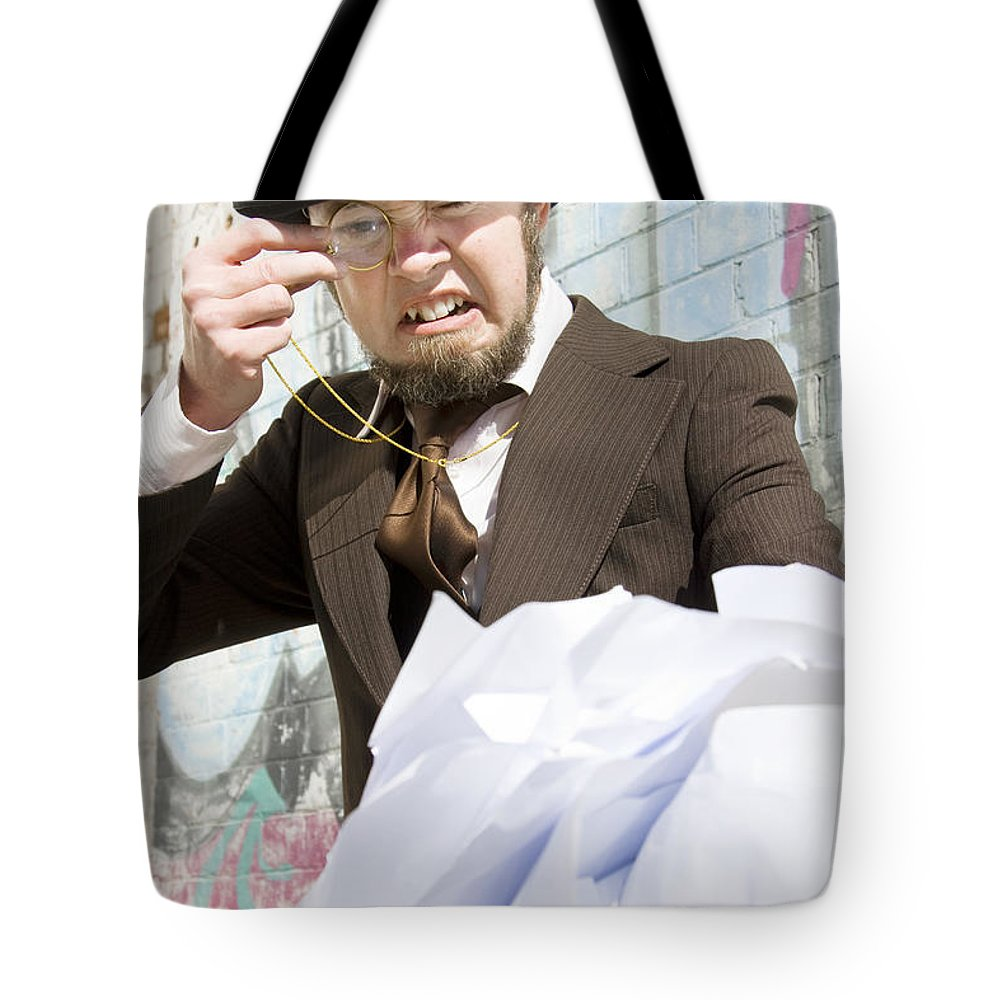 Administrative Tote Bag featuring the photograph Frustrated Businessman by Jorgo Photography - Wall Art Gallery
