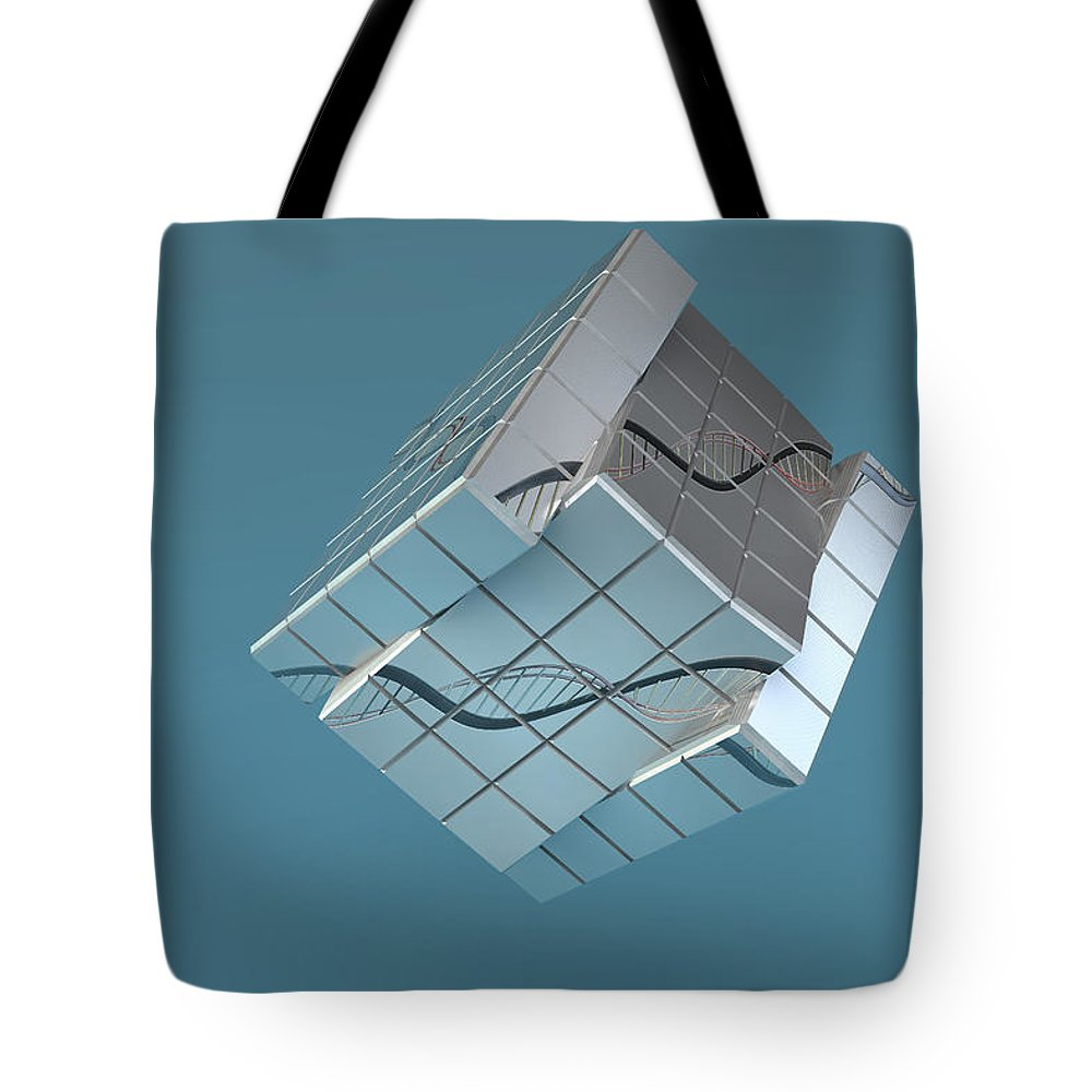 Adenine Tote Bag featuring the photograph Genetic Engineering, Conceptual by Ella Marus Studio
