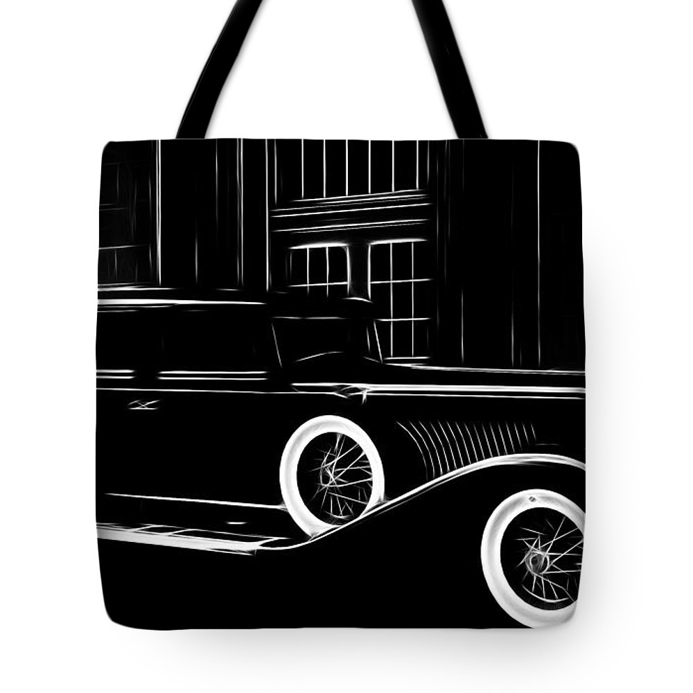 Old Oldtimer Classic Car Vehicle Black White 30 30s Golden Times Painting Tote Bag featuring the painting Golden Times by Steve K