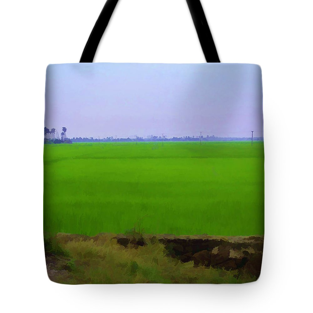 Blue Tote Bag featuring the digital art Green Fields With Birds by Ashish Agarwal