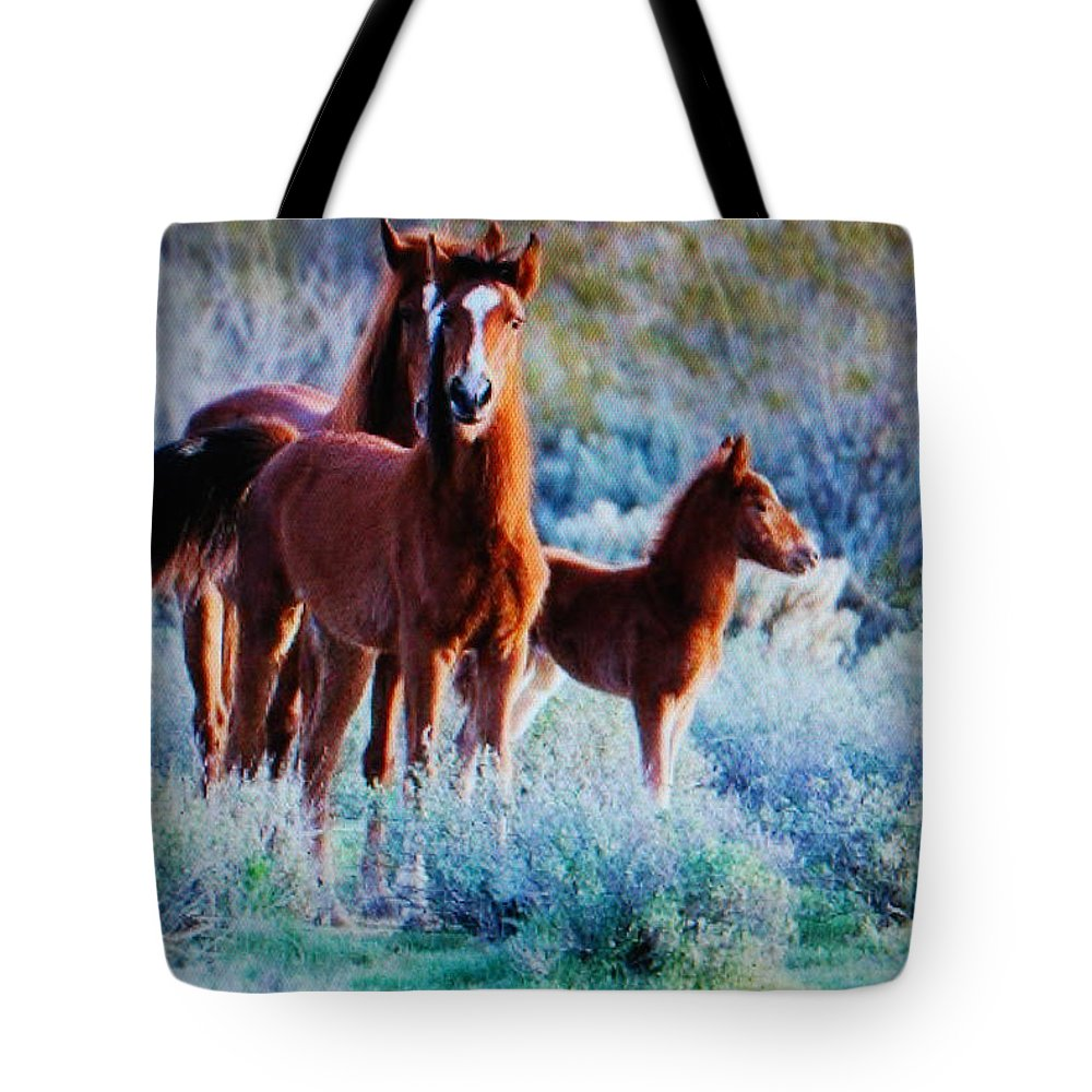 Mama And Daddy With Colt Tote Bag featuring the photograph Horses by Robert Floyd