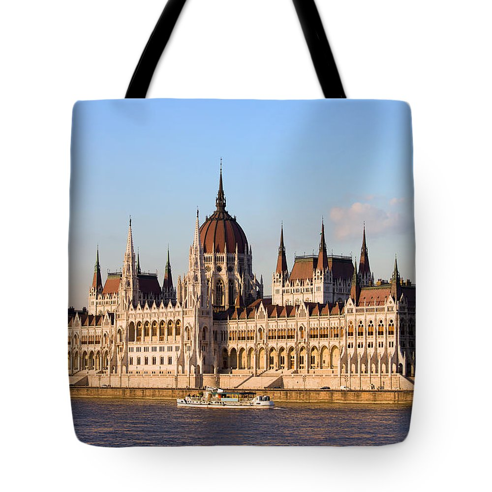 Architectural Tote Bag featuring the photograph Hungarian Parliament Building In Budapest by Artur Bogacki