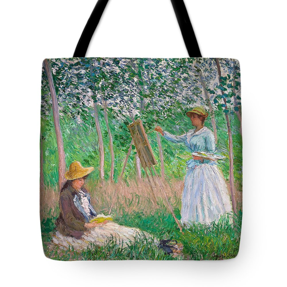 Claude Monet Tote Bag featuring the painting In The Woods At Giverny by Claude Monet