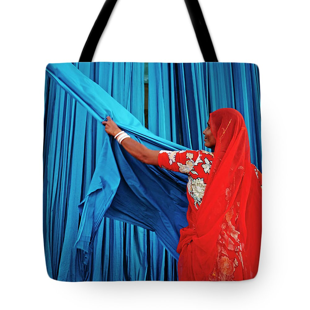 Expertise Tote Bag featuring the photograph India, Rajasthan, Sari Factory by Tuul & Bruno Morandi