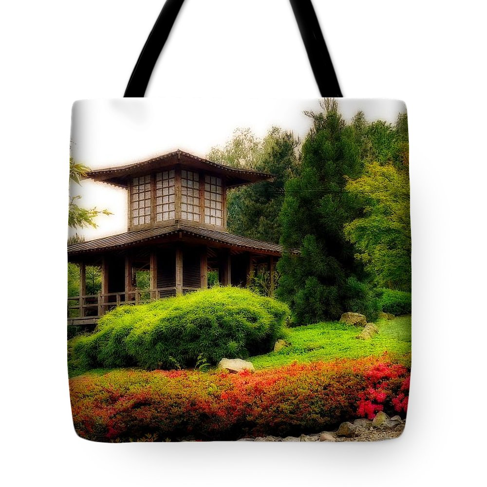 Paradise Tote Bag featuring the photograph Japanese Garden by Gabi Siebenhuehner