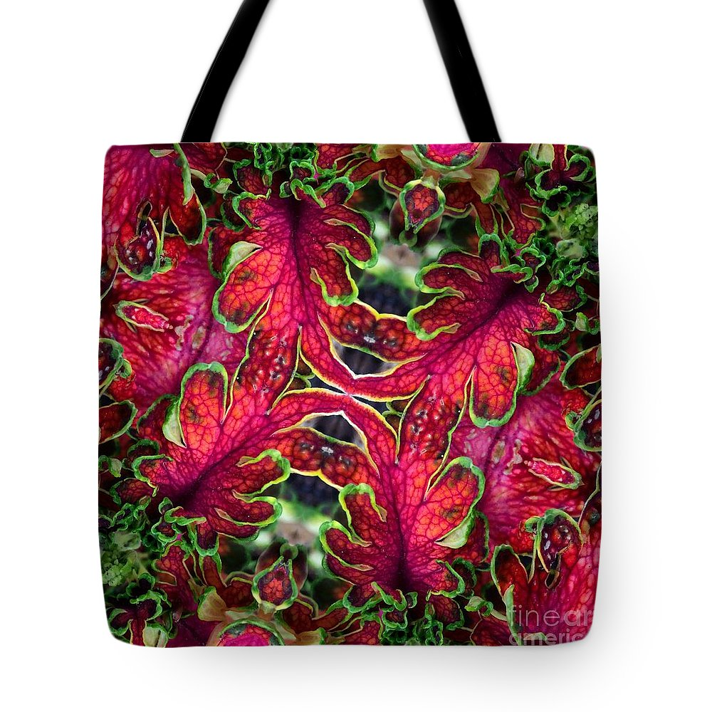 Coleus Tote Bag featuring the photograph Kaleidoscope Made From An Image Of A Coleus Plant by Amy Cicconi