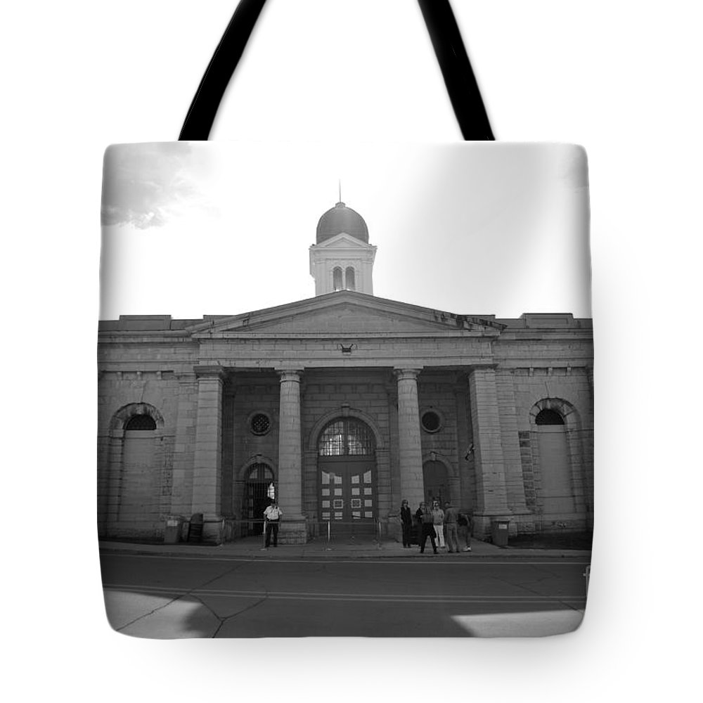 Kingston Penitentiary Tote Bag featuring the photograph Kingston Penitentiary by Elaine Mikkelstrup