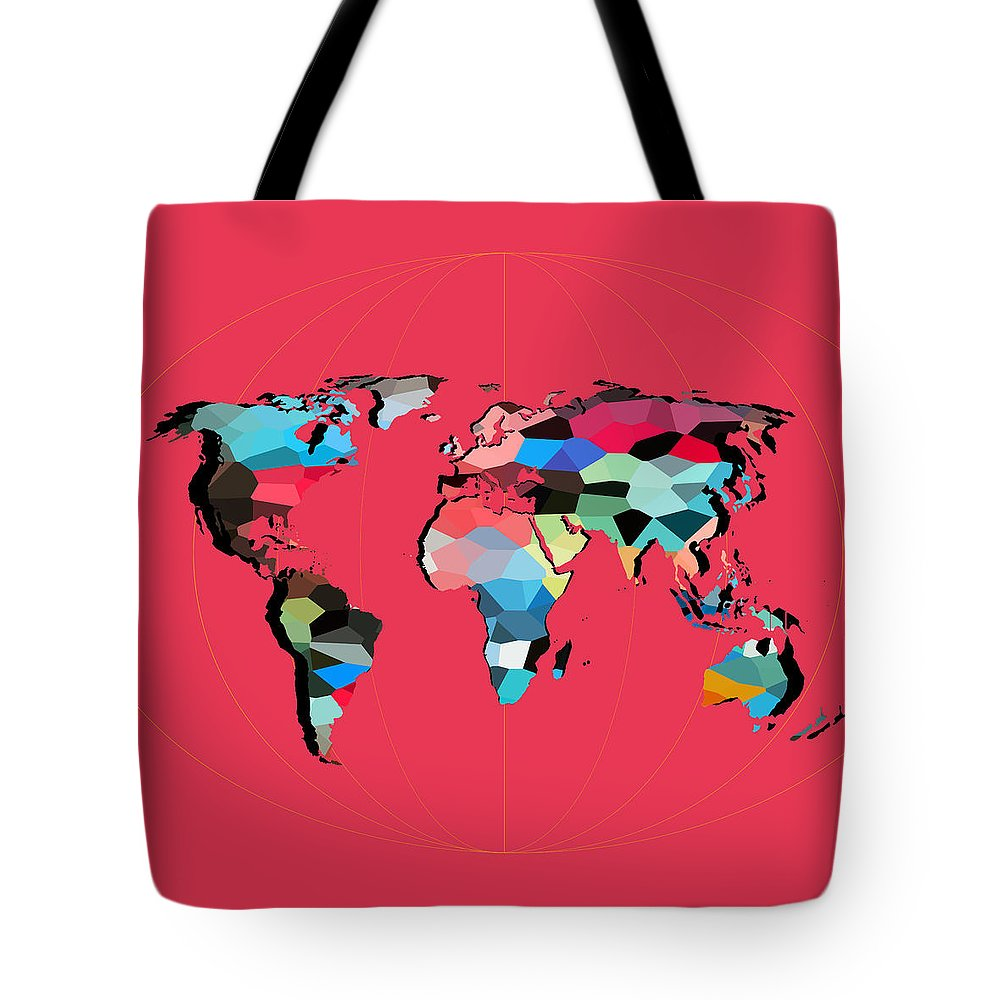 Landmark Tote Bag featuring the digital art Map Of The World by Mark Ashkenazi