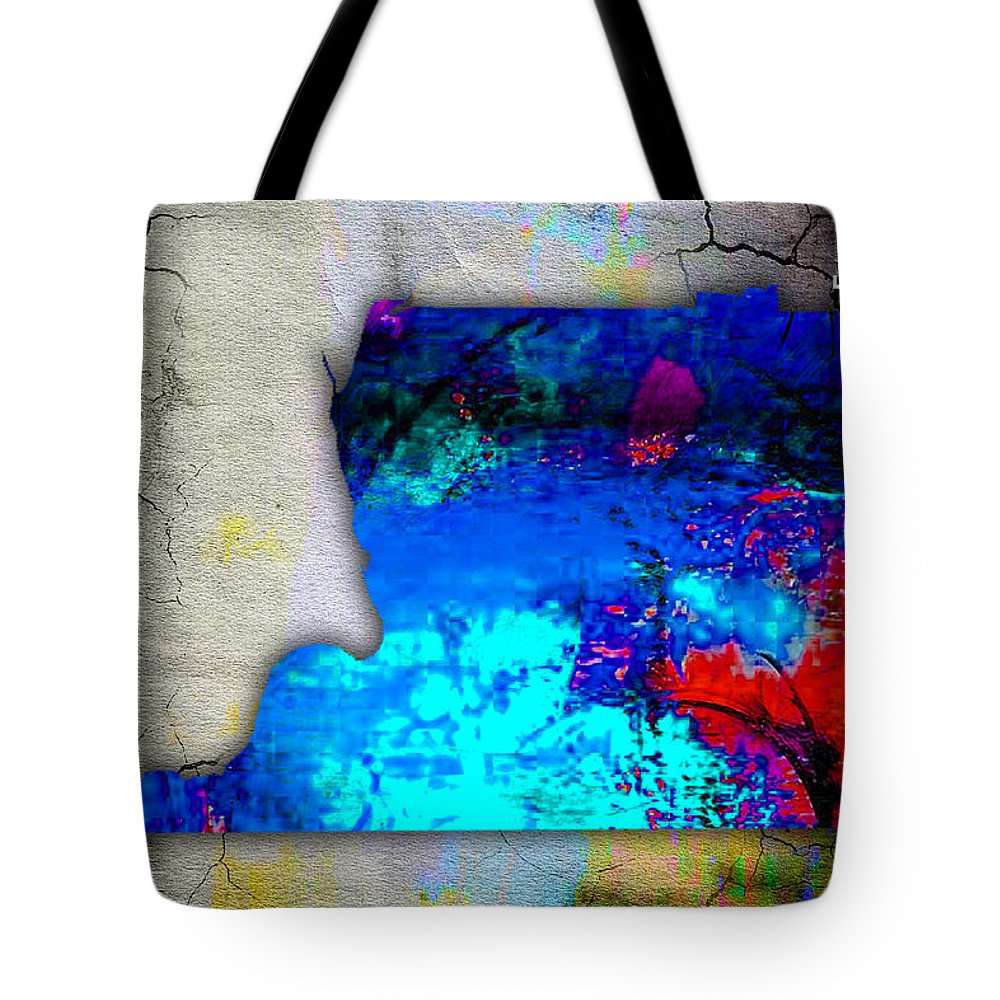 Memphis Art Tote Bag featuring the mixed media Memphis Map And Skyline Watercolor by Marvin Blaine