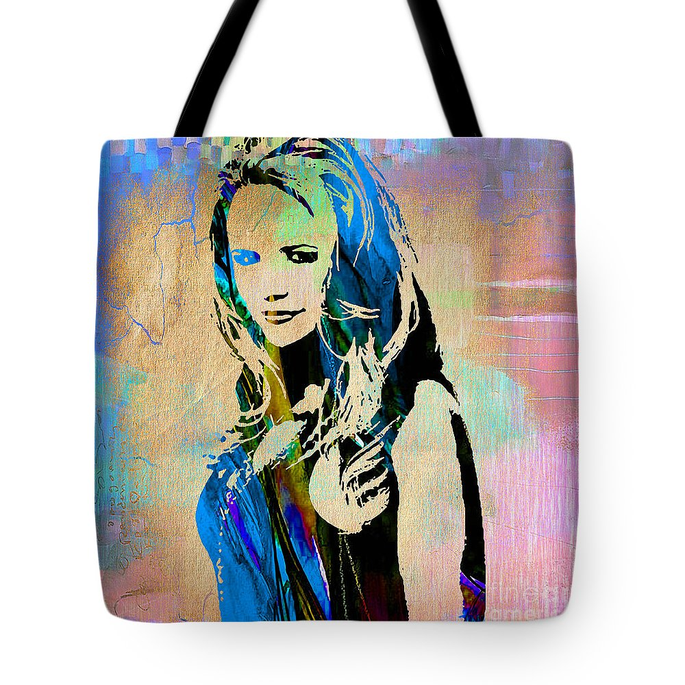 Miranda Lambert Tote Bag featuring the mixed media Miranda Lambert Collection by Marvin Blaine