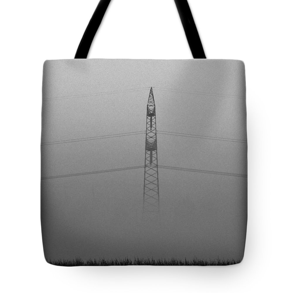 Black White Bw Mist Misty Fog Morning Electricity High Voltage Landscape Tension Tote Bag featuring the photograph Misty Morning by Steve K
