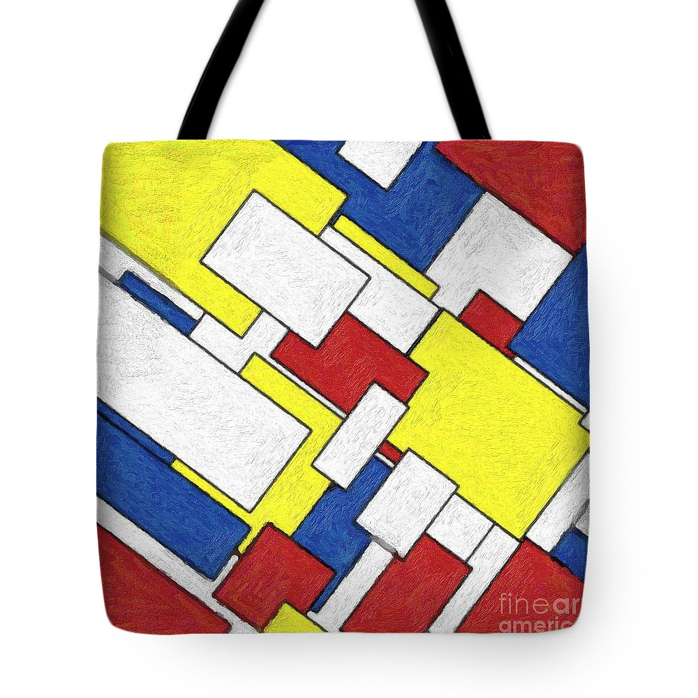 Piet Mondrian Tote Bag featuring the painting Mondrian Rectangles by Celestial Images