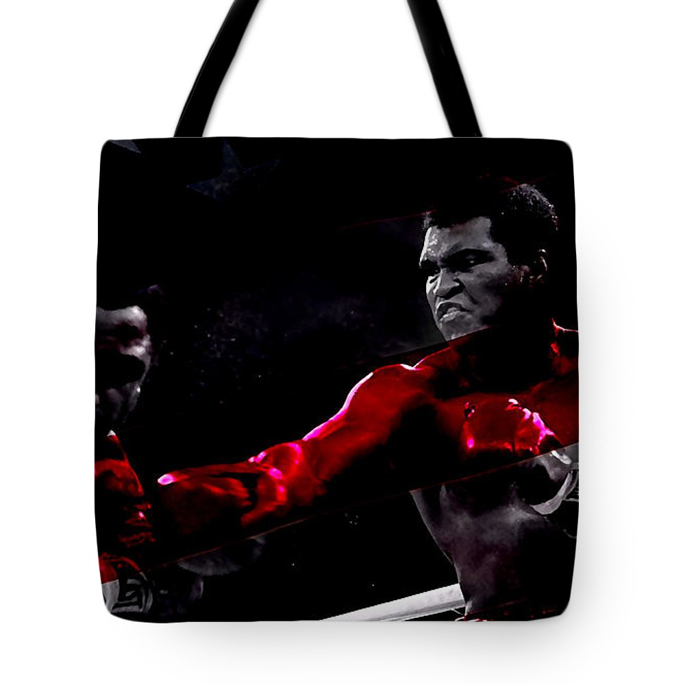 Sports Paintings Tote Bag featuring the mixed media Muhammad Ali by Marvin Blaine