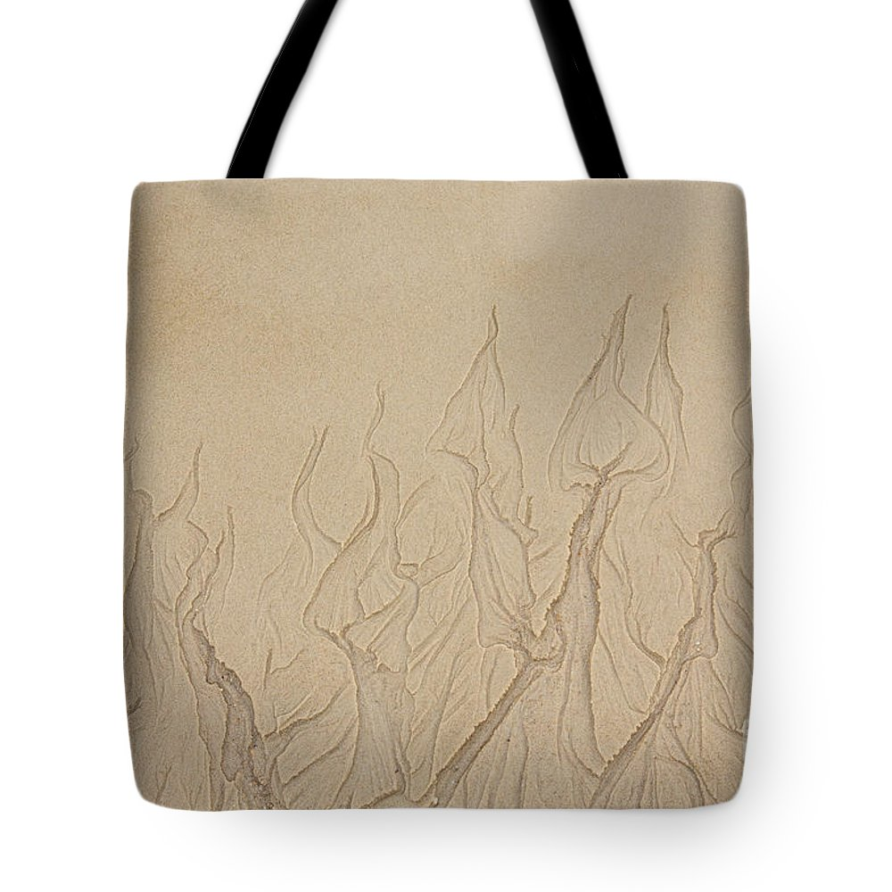 Iris Holzer Richardson Tote Bag featuring the photograph Ocean Sand Art Hearts by Iris Richardson