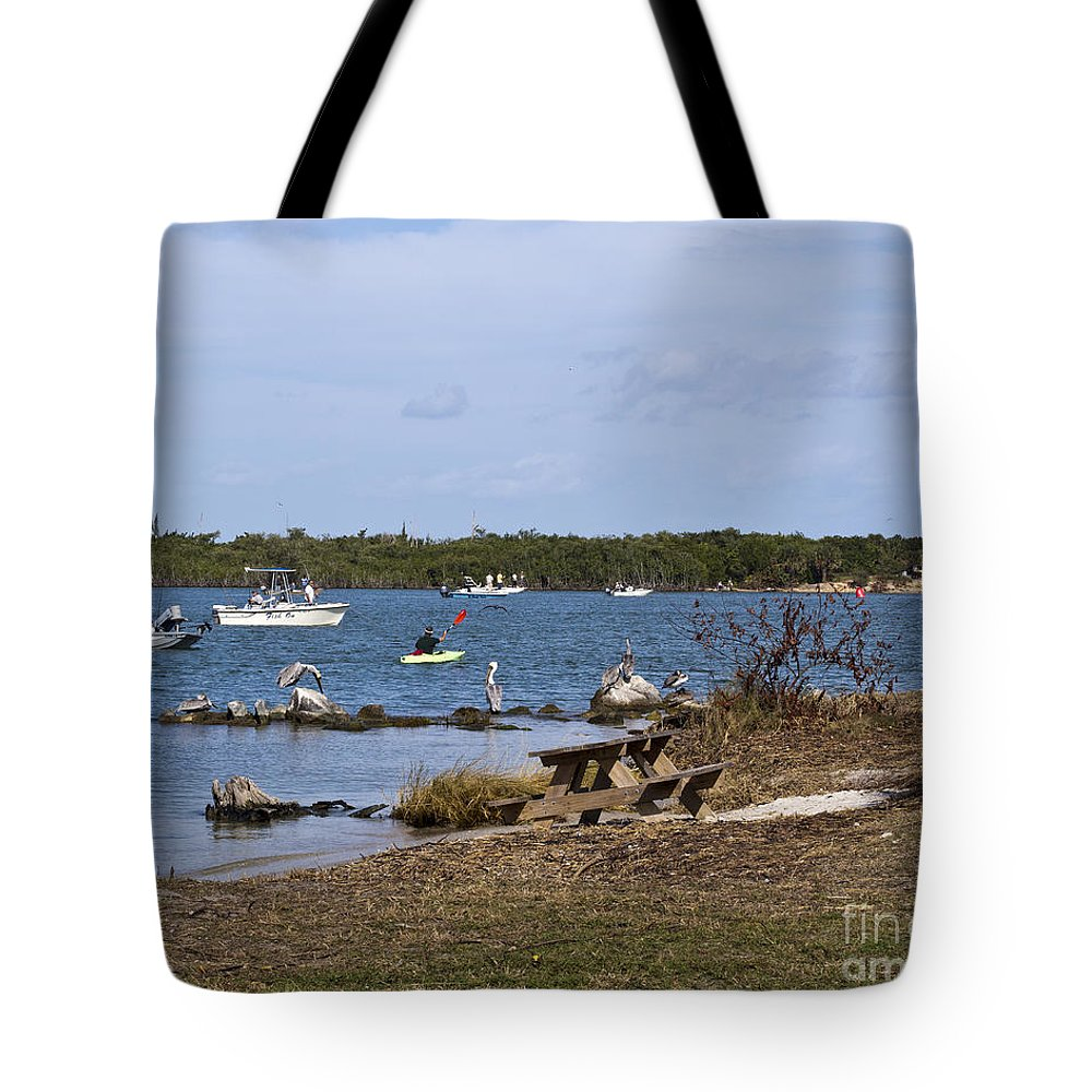 Opening Tote Bag featuring the photograph Opening Day For Snook Fishing At Sebastian Inlet In Florida by Allan Hughes