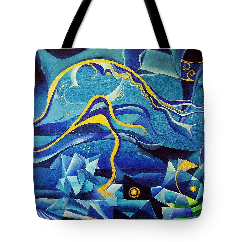 Orpheus Eurydike Greek Mth Claudio Monteverdi Music Abstract Acrylic Tote Bag featuring the painting Orpheus And Eurydike by Wolfgang Schweizer