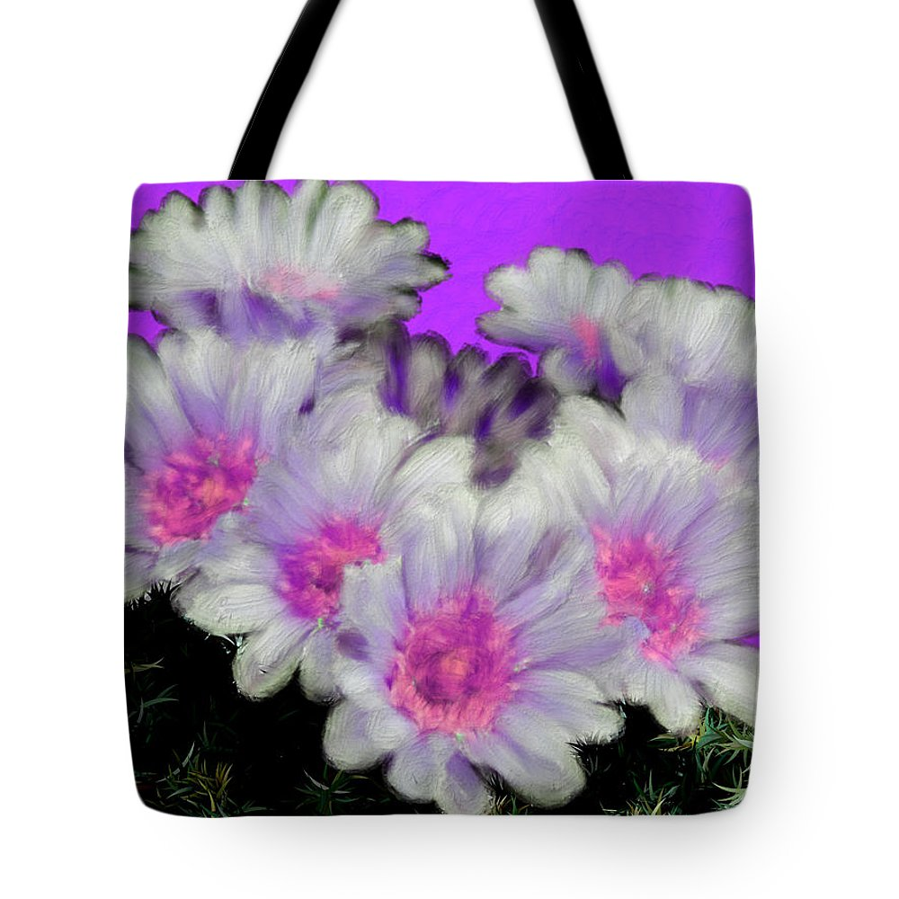 Purple Tote Bag featuring the painting Painterly Cactus Flowers by Bruce Nutting