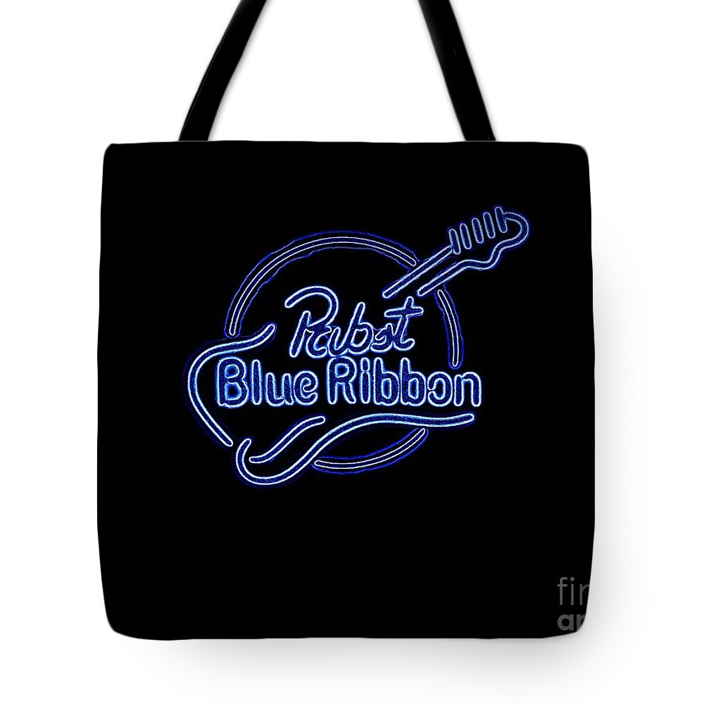 Tote Bag featuring the photograph Pbr In Blue Neon by Kelly Awad