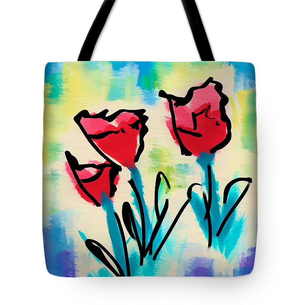 Flowers Art Print Tote Bag featuring the digital art 3 Poppies by Frank Bright