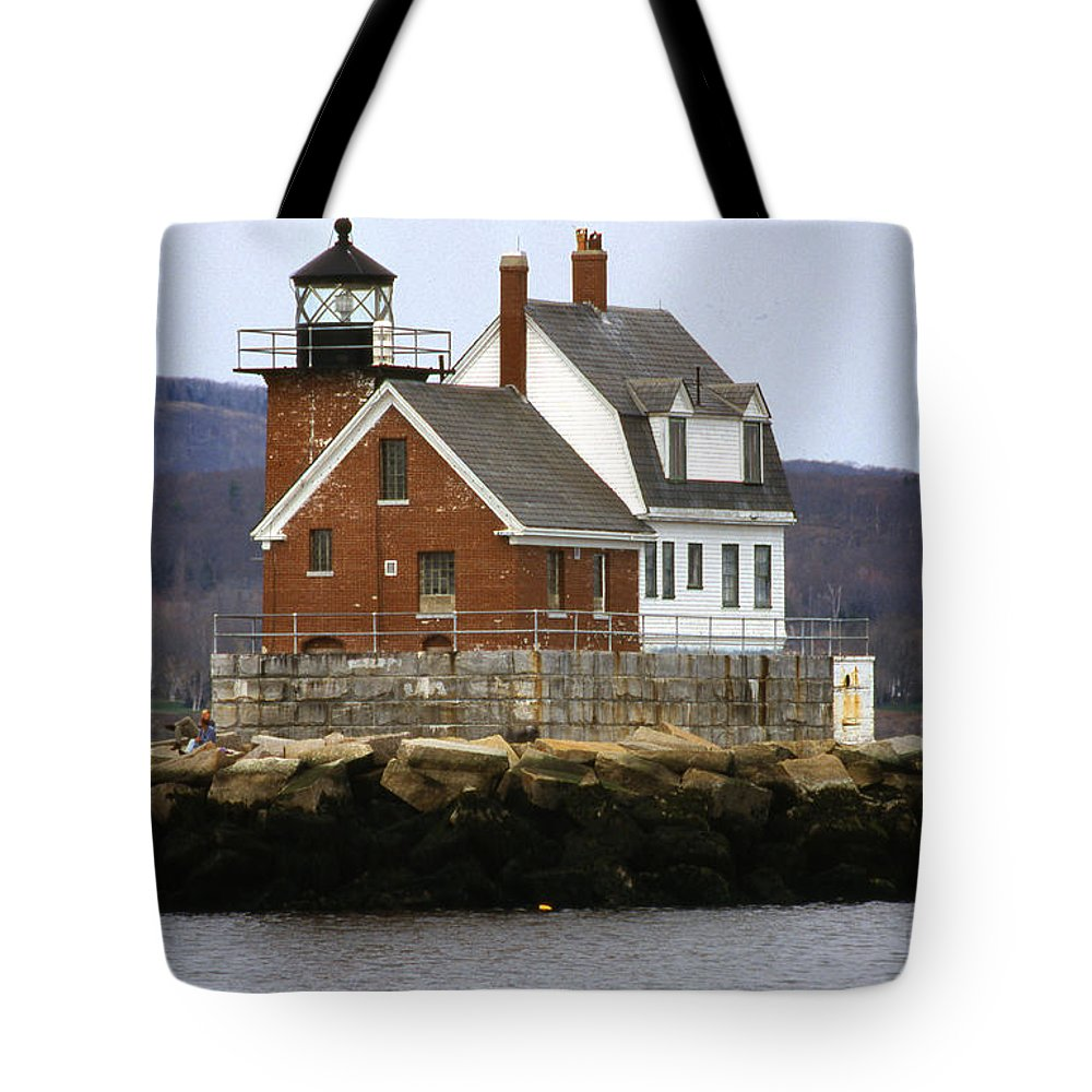 Maritime Tote Bag featuring the photograph Rockland Breakwater Lighthouse by Skip Willits