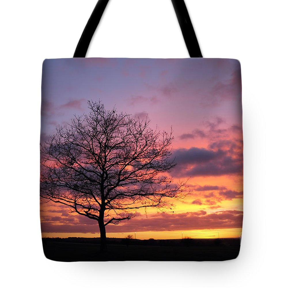 Spectacular Sunset Epsom Downs Surrey Uk Dusk Pink Sky Twilight Tree Silhouette Orange Sun Set Down English England Branches Lone Tote Bag featuring the photograph Spectacular Sunset Epsom Downs Surrey Uk by Julia Gavin