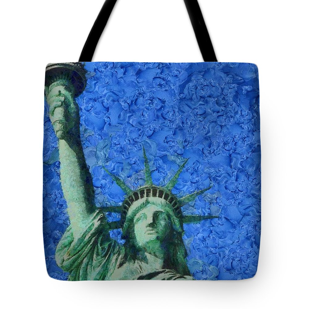Statue Of Liberty Tote Bag featuring the painting Statue Of Liberty by Dan Sproul