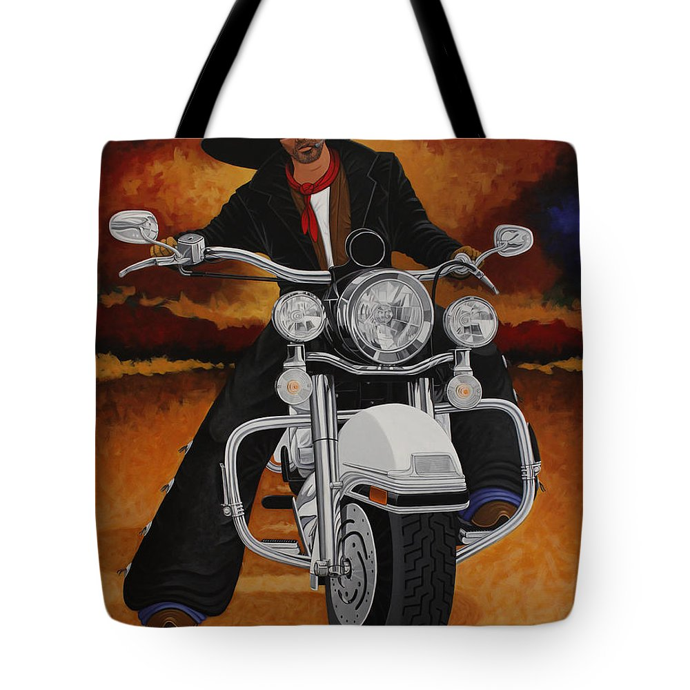 New West Tote Bag featuring the painting Steel Pony by Lance Headlee