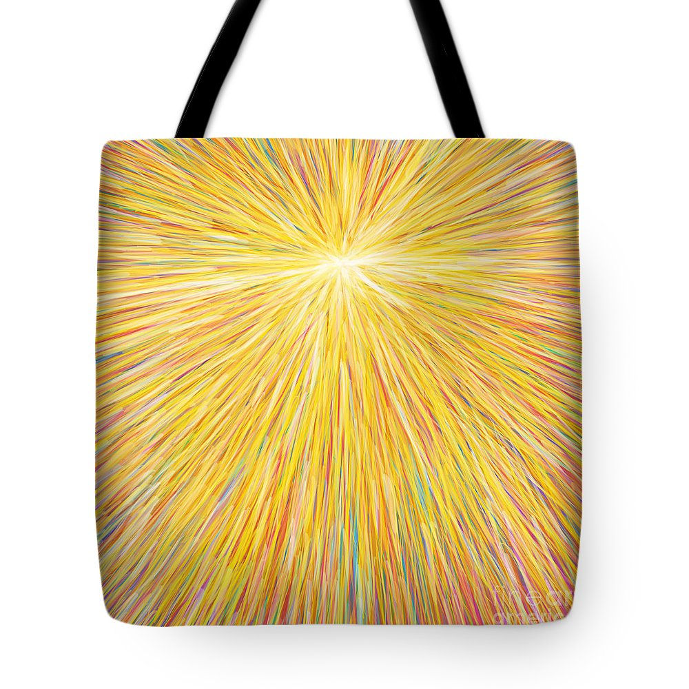 Abstract Tote Bag featuring the painting sun by Atiketta Sangasaeng