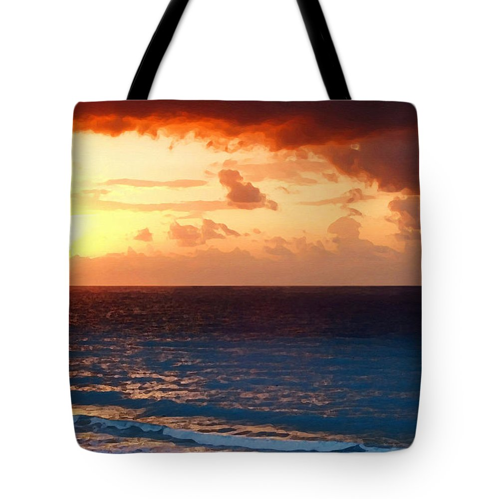 Tequila Sunrise Tote Bag featuring the painting Tequila Sunrise by Ellen Henneke