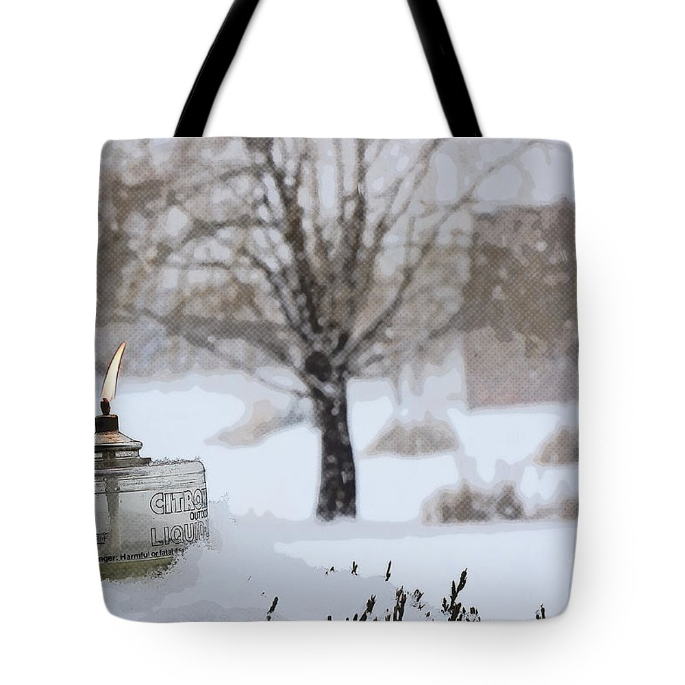 Ice Tote Bag featuring the photograph The Candle In The Snow by Celestial Images