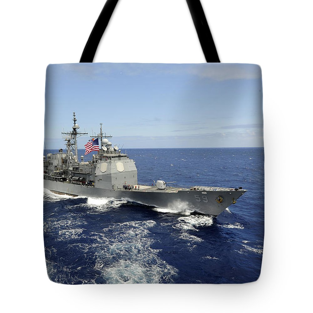 Rimpac Tote Bag featuring the photograph The Guided-missile Cruiser Uss by Stocktrek Images