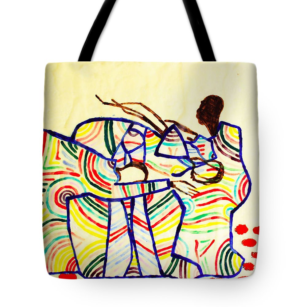Jesus Tote Bag featuring the ceramic art The Holy Family by Gloria Ssali
