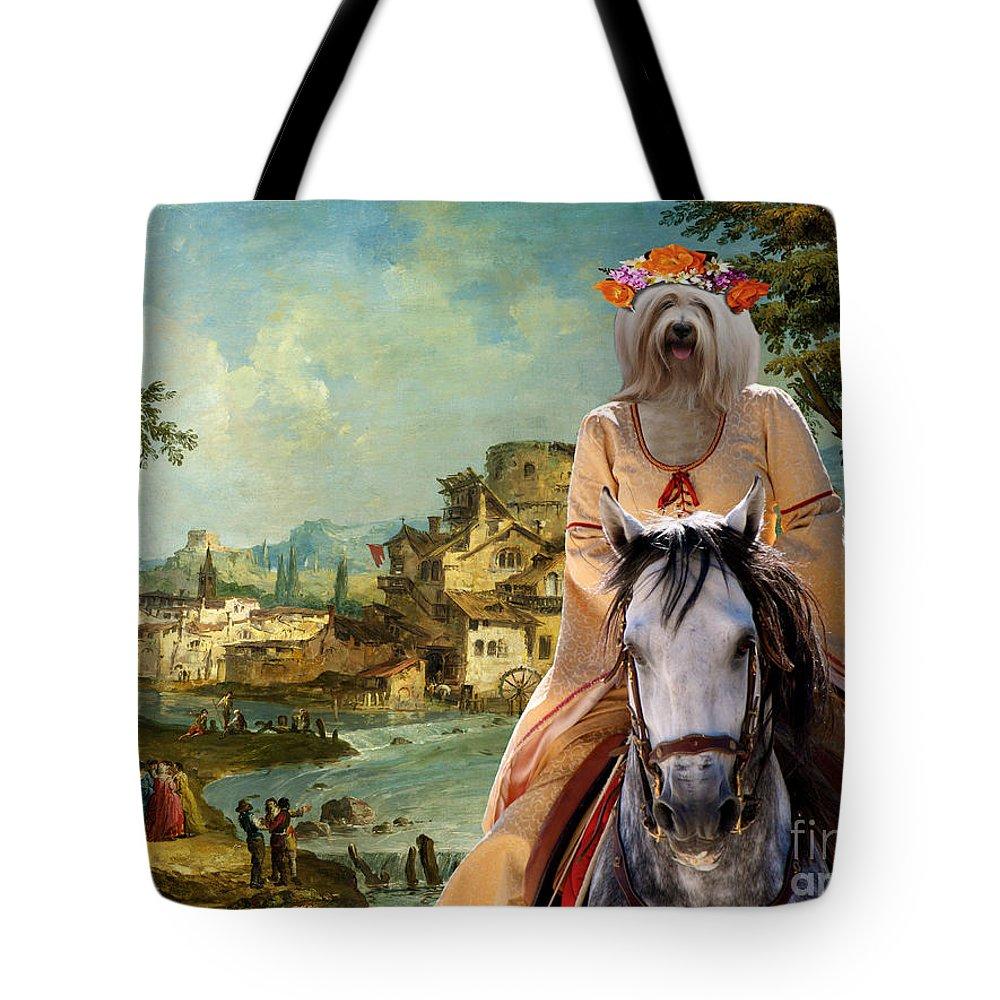 Tibetan Terrier Tote Bag featuring the painting Tibetan Terrier Art Canvas Print by Sandra Sij
