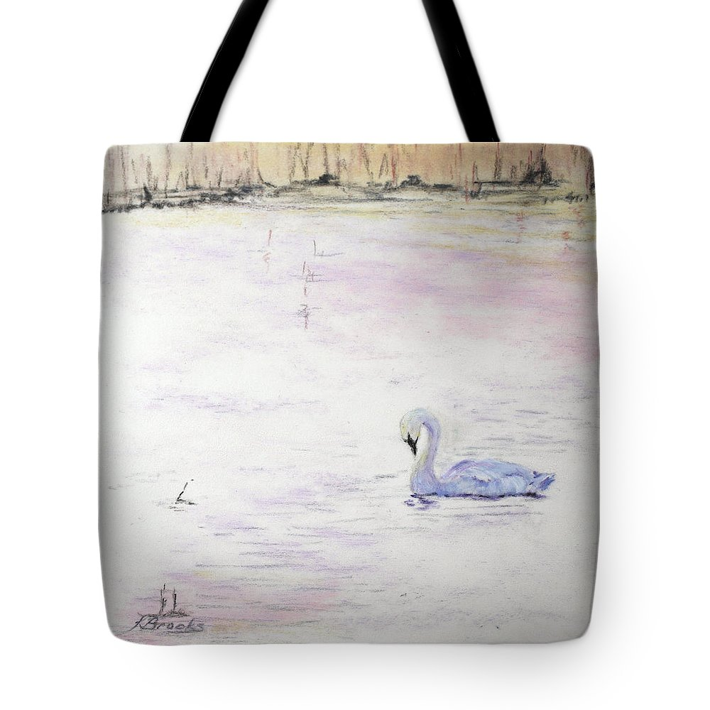 Trumpeter Tote Bag featuring the painting Trumpeter Swan by Sandy Brooks