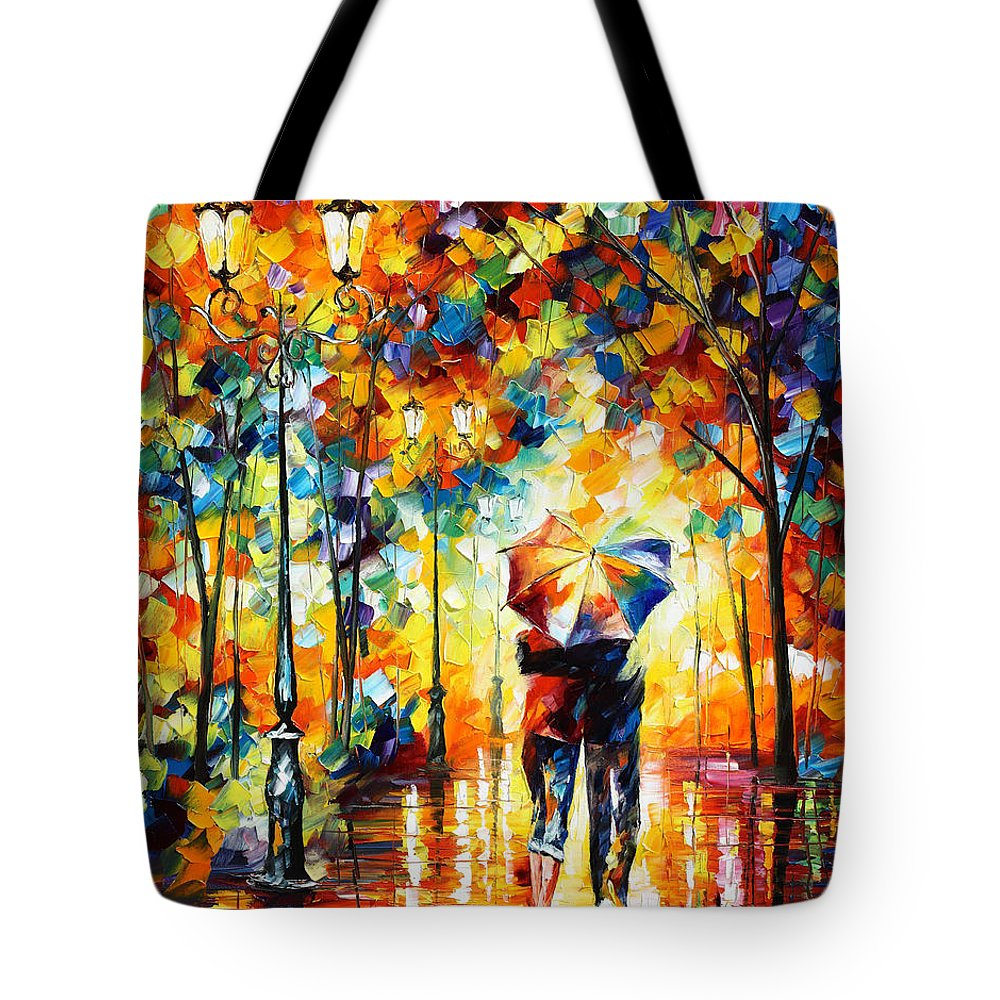Under Tote Bag featuring the painting Under One Umbrella by Leonid Afremov
