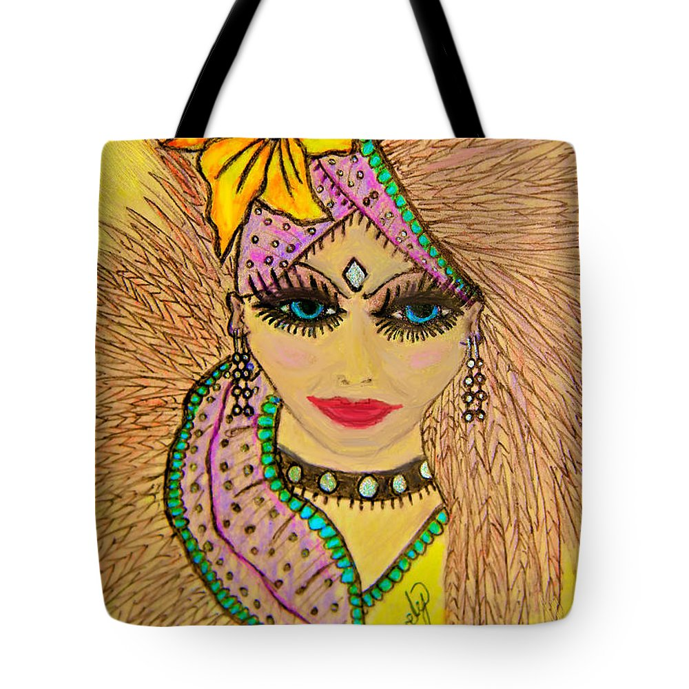 Lady Tote Bag featuring the drawing Showgirl by Sara Gravely- Comstock