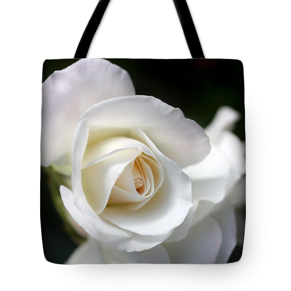 Rose Tote Bag featuring the photograph White Rose Petals by Jennie Marie Schell