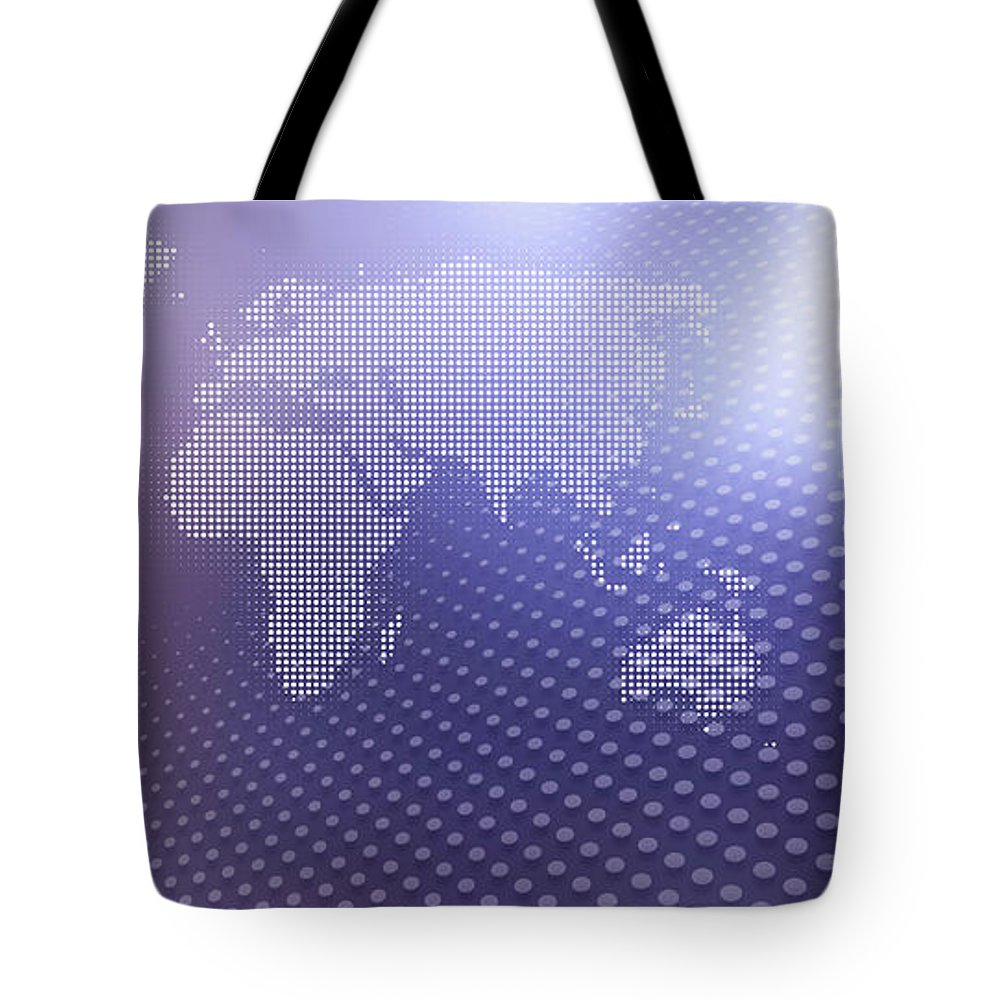 Shadow Tote Bag featuring the digital art World Map In Dots Against An Abstract by Ralf Hiemisch