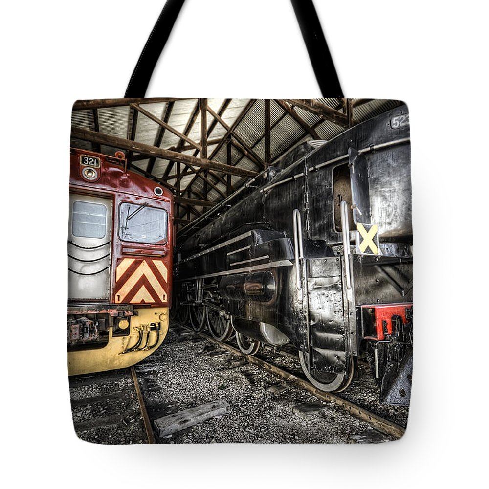 Railway Tote Bag featuring the photograph 321 And 523 by Wayne Sherriff
