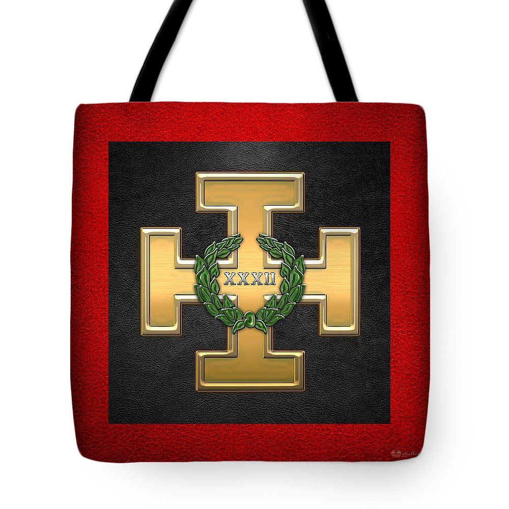 'ancient Brotherhoods' Collection By Serge Averbukh Tote Bag featuring the digital art 32nd Degree Mason - Master Of The Royal Secret Masonic Jewel by Serge Averbukh