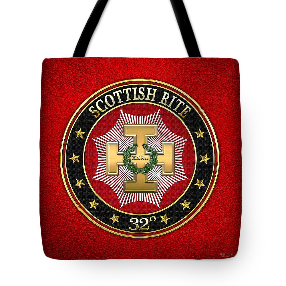 'scottish Rite' Collection By Serge Averbukh Tote Bag featuring the digital art 32nd Degree - Master Of The Royal Secret Jewel On Red Leather by Serge Averbukh