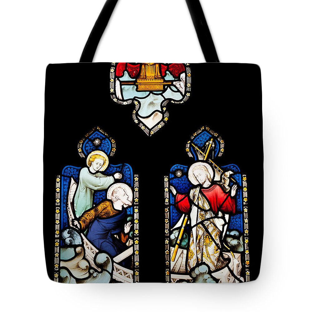 Glass Tote Bag featuring the photograph Religious Stained Glass Window by Luis Alvarenga