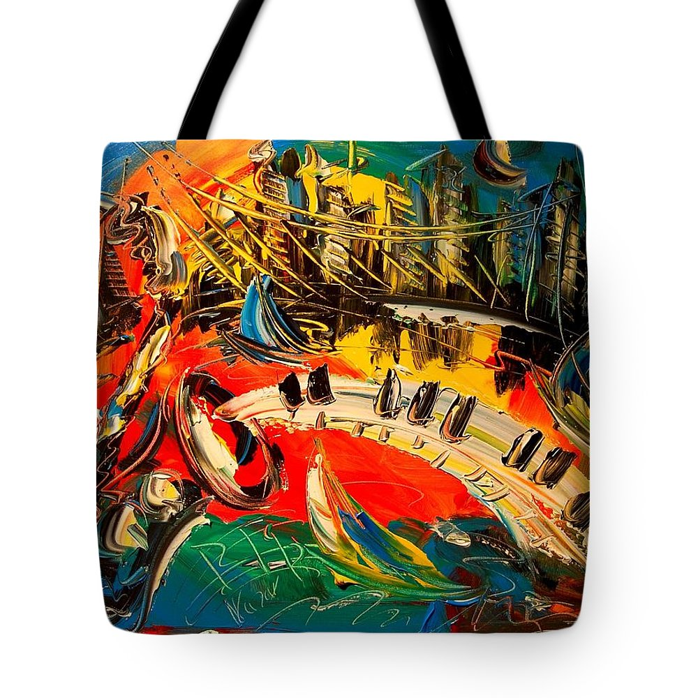 Tote Bag featuring the painting New York by Mark Kazav