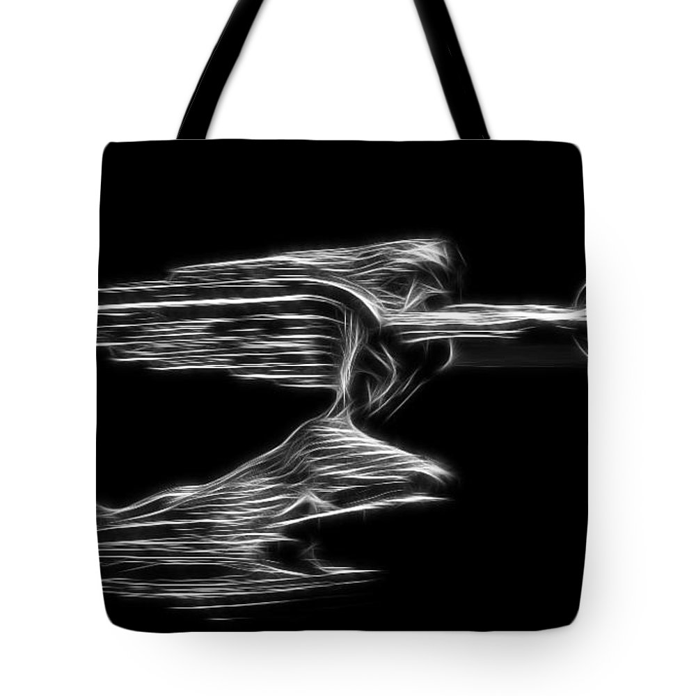 1936 Packard Hood Ornament Tote Bag featuring the photograph 36 Packard Hood Orament by Steve McKinzie
