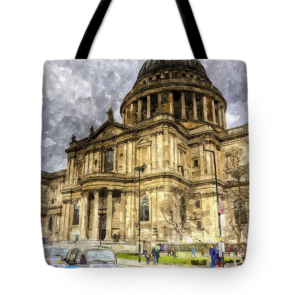 Vintage Tote Bag featuring the digital art St Paul's Cathedral London by David Pyatt