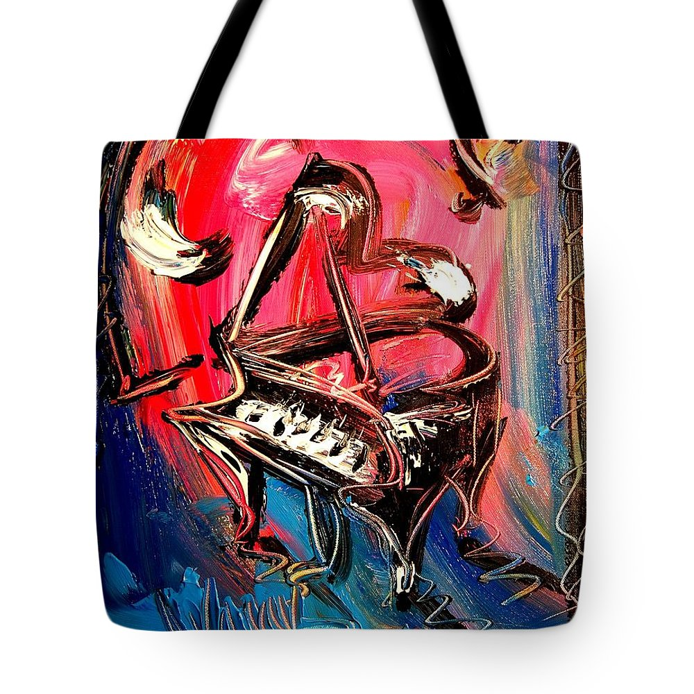 Piano Tote Bag featuring the painting Piano by Mark Kazav