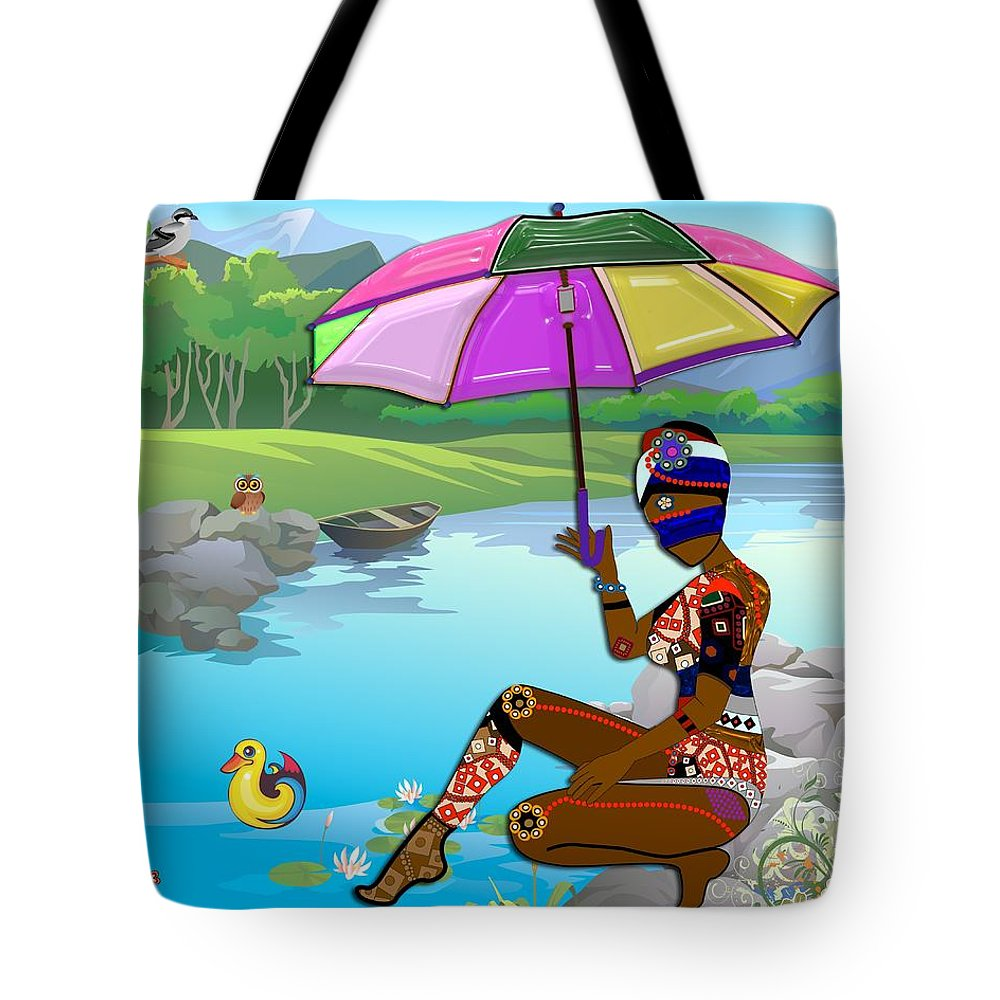 3d Tote Bag featuring the photograph Girl By The Lake by Carlos Diaz